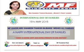 MF WISHES A HAPPY INTERNATIONAL DAY OF FAMILIES  15th May 2015.