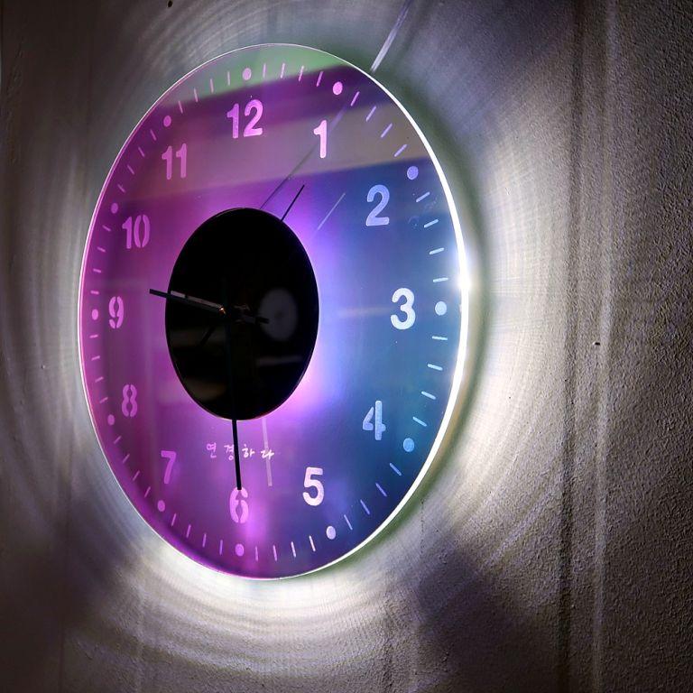 오로라 시계 조명시계 투명시계 004 다이크로익 벽시계 시계선물 시계조명 주문제작시계