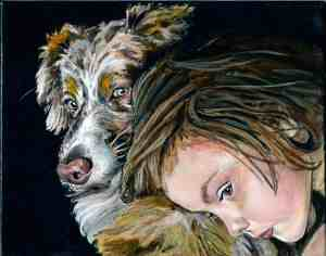 painting of an Australian Shepherd dog with his best friend