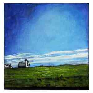 painting of a barn and silo on the Eastern Shores of Maryland