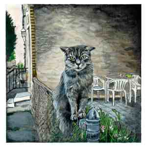 painting of a grey stray cat sitting on a chain link fence in the Fishtown section of Philadelphia