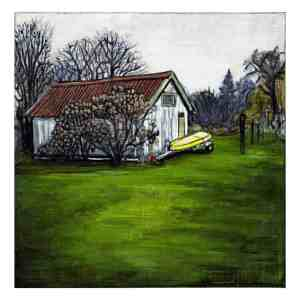 painting of a garage with a yellow boat