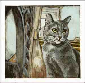 painting of a light gray tabby cat sitting on the stairs