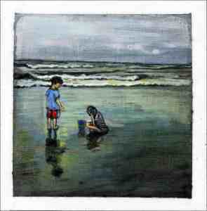 painting of a boy and a girl playing in the sand on the beach in Sea Isle City, New Jersey