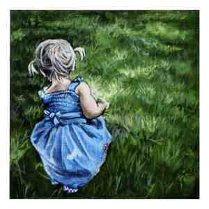 painting of a little girl in a blue dress on the grass