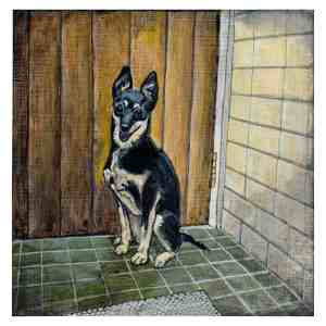 painting a black and tan rat terrier dog on a green tile floor in front of a door