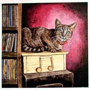 painting of a brown tabby cat sitting on a wooden music box in front of a red wall