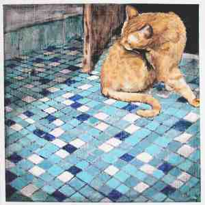 painting of an orange tabby cat grooming on a blue and white mosaic tile floor