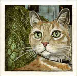 painting of an orange tabby cat