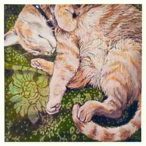 painting of an orange tabby sleeping on a green floral pattern blanket