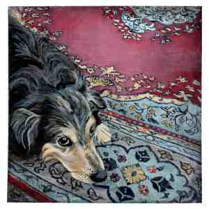 painting of an Australian Shepherd on a patterned rug