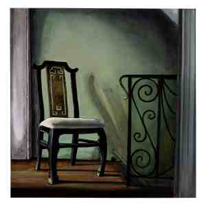 painting of a chair in front of green wall