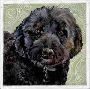 painting of a black labradoodle with a paisley patterned background