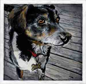 painting of a black, brown and white dog wearing a red collar on a wood deck