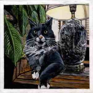 painting of a dark gray and white Norwegian Forest cat sitting between a plant and a lamp