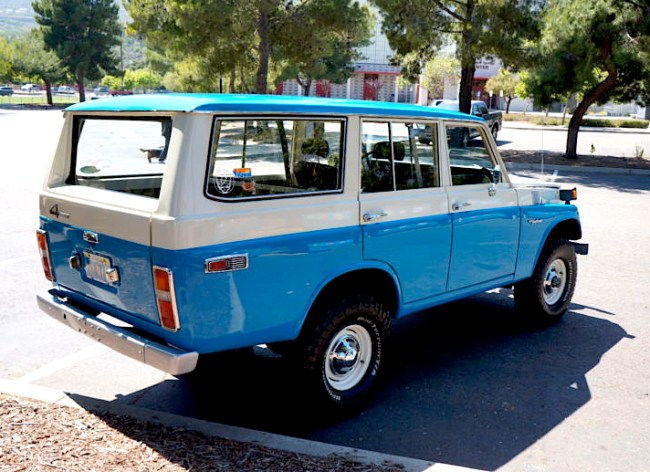 "The FJ55 was a 4-door station wagon version based on the FJ40 drive-train, replacing the 4-Door FJ45V. It is commonly referred to as an ""iron pig."" The FJ55 was designed to be sold in North America and Australia. All Iron Pigs were 2-tone in color. Most added a 3rd color and that is rust. We are huge Cruiser fans and love the slightly archaic look of the Pig."