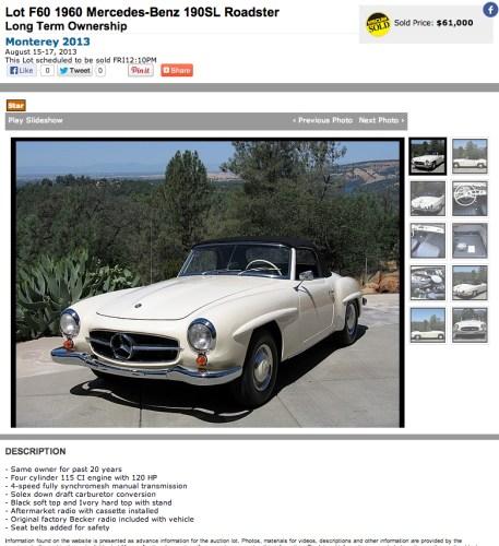1960 Mercedes Benz 190SL