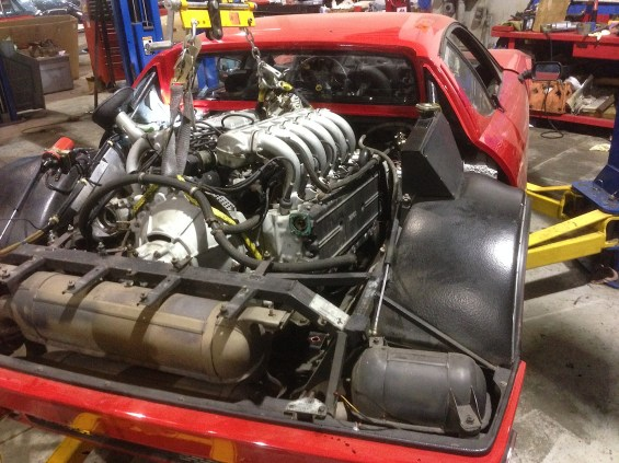 Ferrari 512BBi engine coming out for service