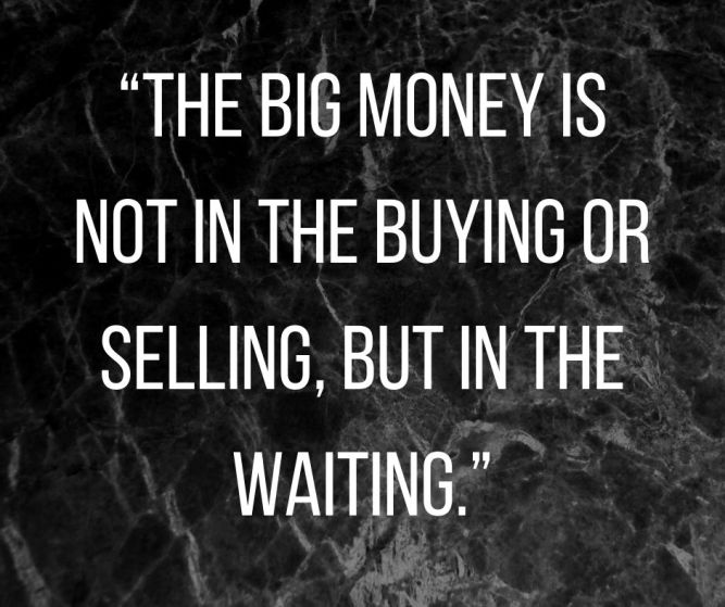 """The big money is not in the buying or selling, but in the waiting."""