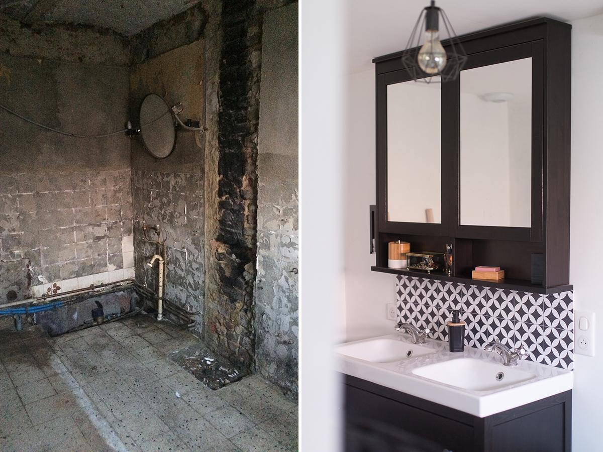 Sweet Home La Salle De Bain En Noir Et Blanc Avec Audella Travaux Renovation Et Deco
