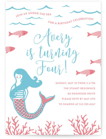 mermaid birthday party invitations and