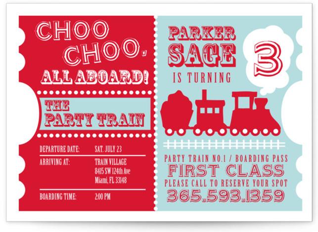 train birthday party invitations and
