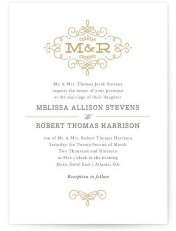 Ornate Monogram Wedding Invitations By
