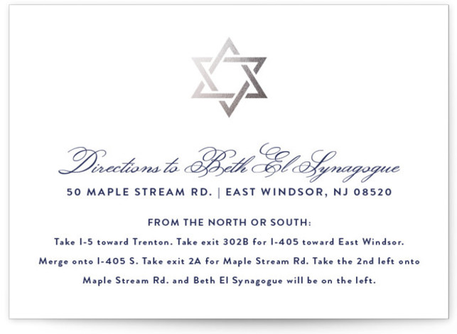 Silver Mitzvah Foil-Pressed Mitzvah Directions Cards by