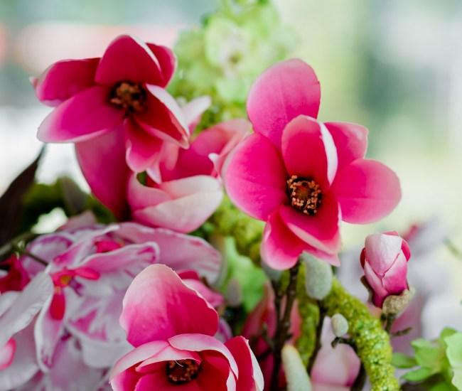 Mint en Mimosa zijden bloemen