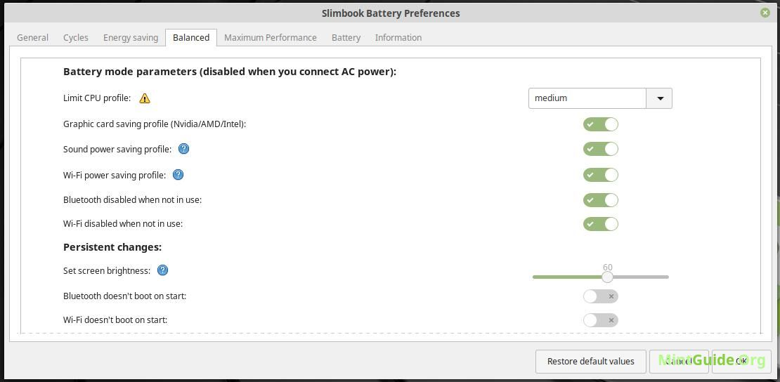 Slimbook battery — tool to save battery power • MintGuide.Org