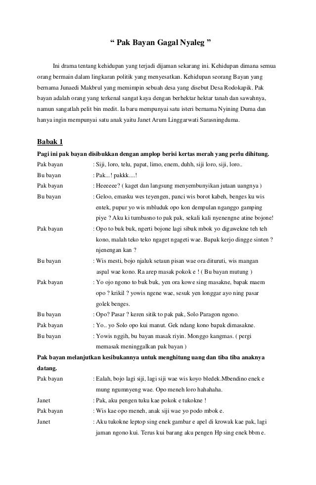 Drama Bahasa Jawa 5 Orang : drama, bahasa, orang, Naskah, Drama, Dengan, Tokoh, Mintlasopa