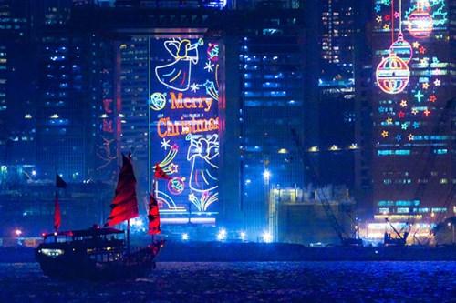 Hong Kong harbour, Xmas