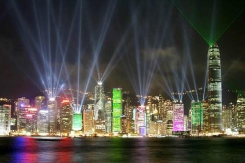 Hong Kong harbor lights at Christmas