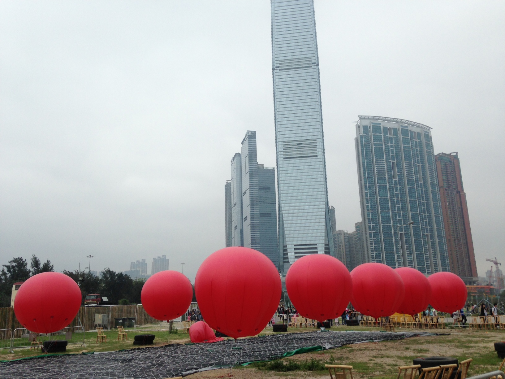 Inflatable red balloons, Kowloon Park, Hong Kong