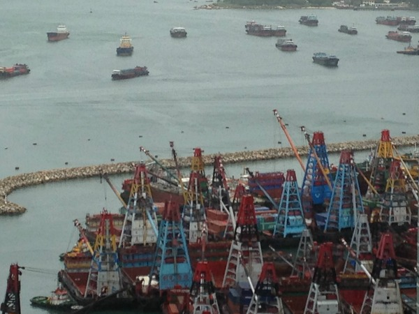 Container ships parked during Typhoon Utor