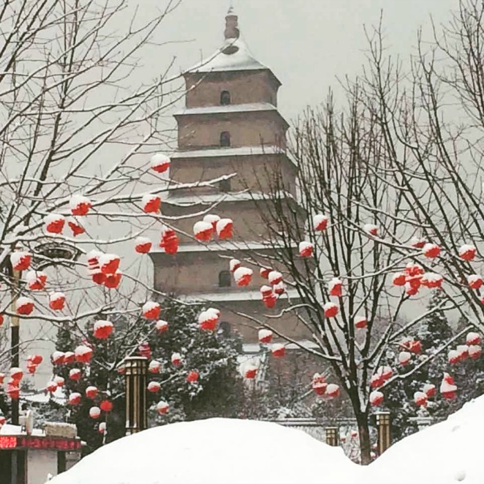 China: Big Snow for the Big Wild Goose Pagoda #Pretty #SpringFestival #XianScenes #China