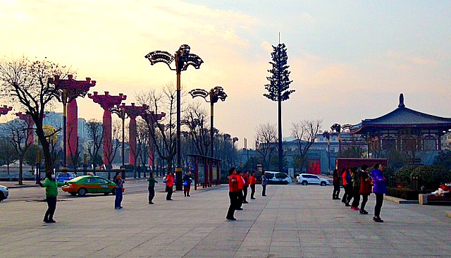 China: Mornings in Xi'an...there is a lot of this 'dancing' going on around the city.