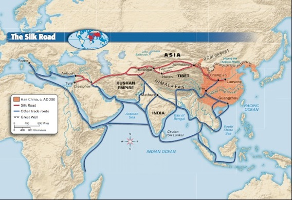 Three routes of silk road