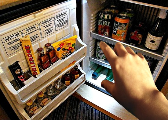 using the hotel mini bar