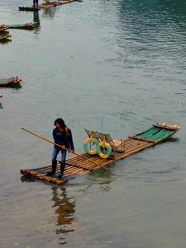 Hiring a raft in Yangshuo