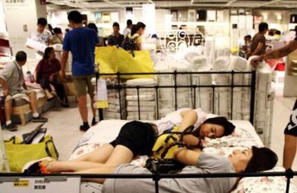 Mum sleeping in Ikea
