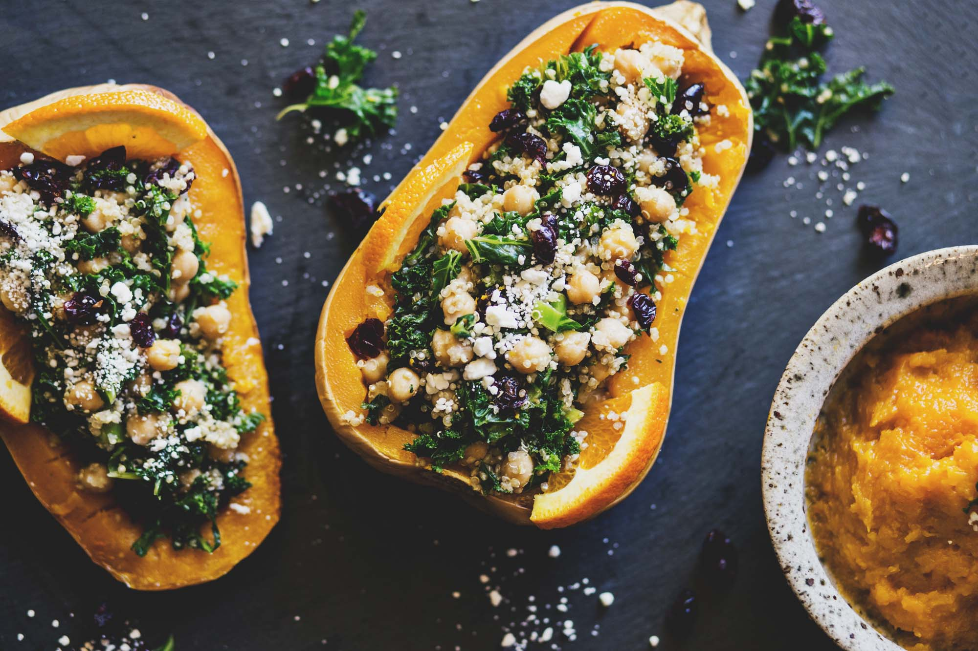 Stuffed Butternut Squash with kale, cranberries, quinoa, and chi