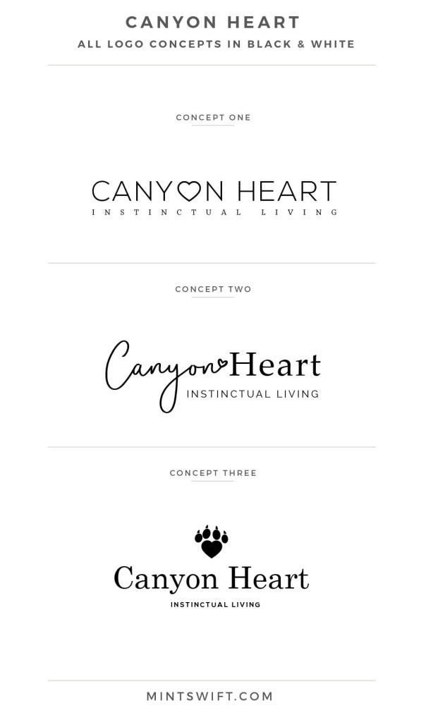 Canyon Heart - logo design concepts in black and white - MintSwift