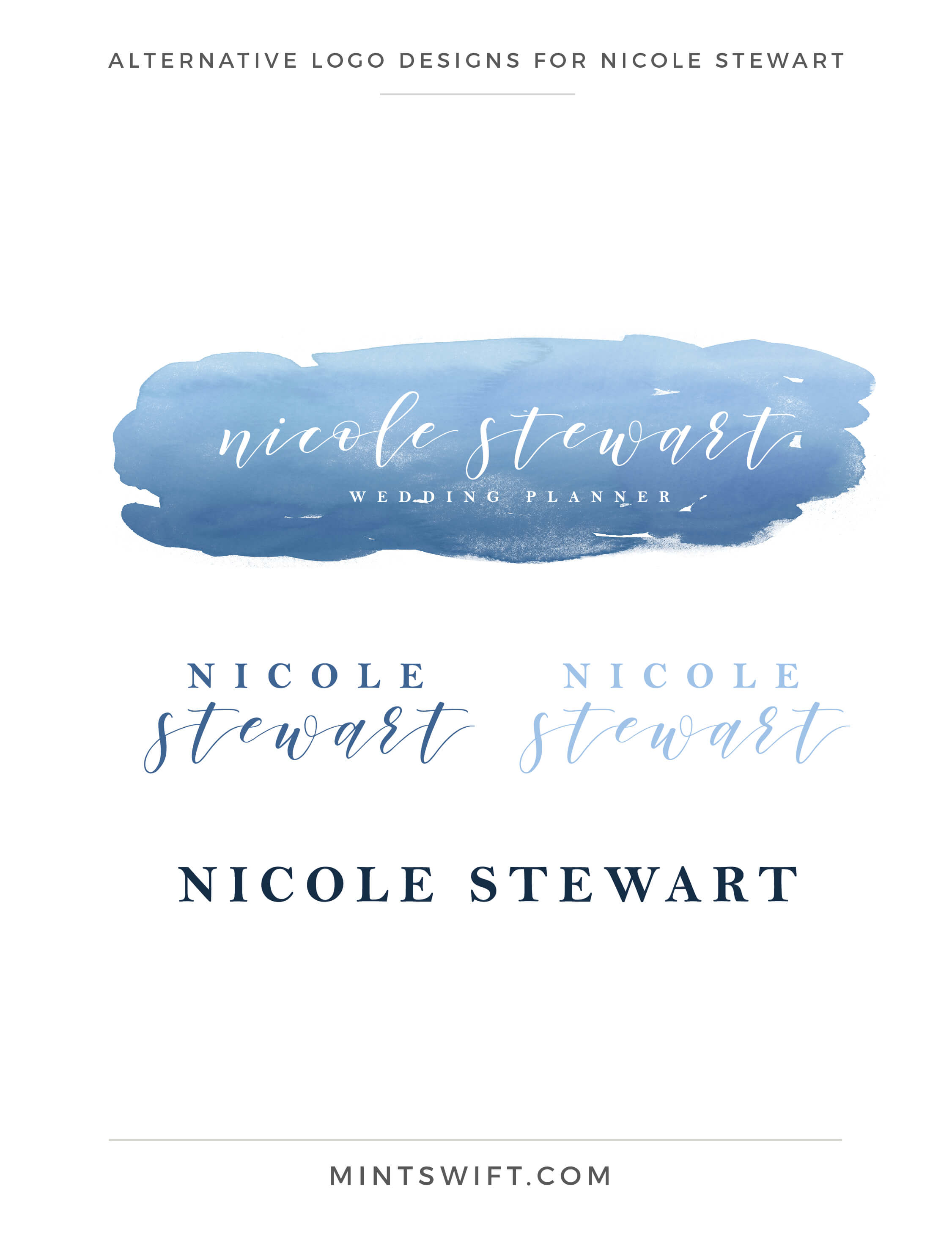 Nicole Stewart - Alternative Logo Designs - Brand Design Package - MintSwift