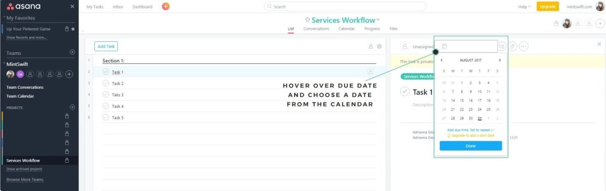 How to add deadlines (due dates) to project in Asana - MintSwift
