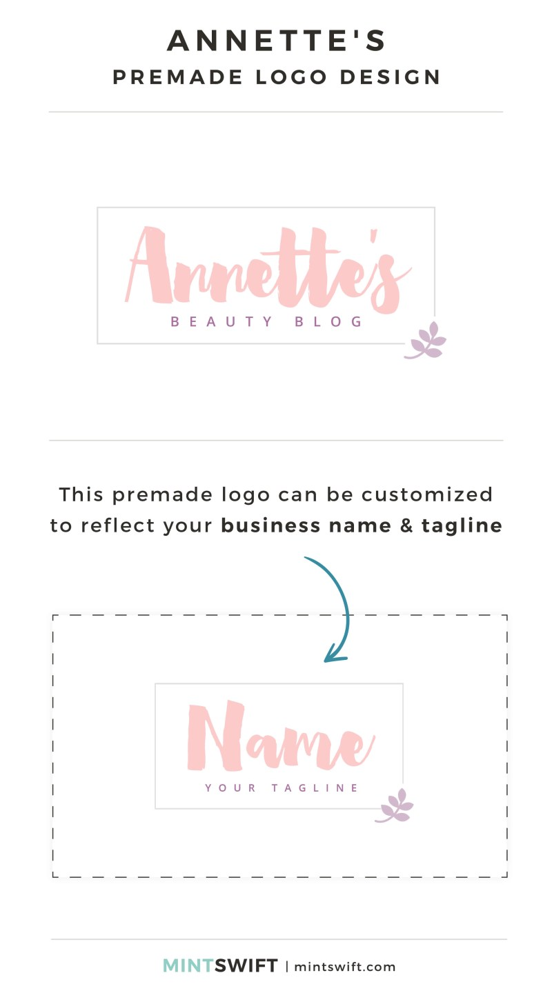 Annette's Premade Logo - Personalized with your business name & tagline – MintSwift Shop