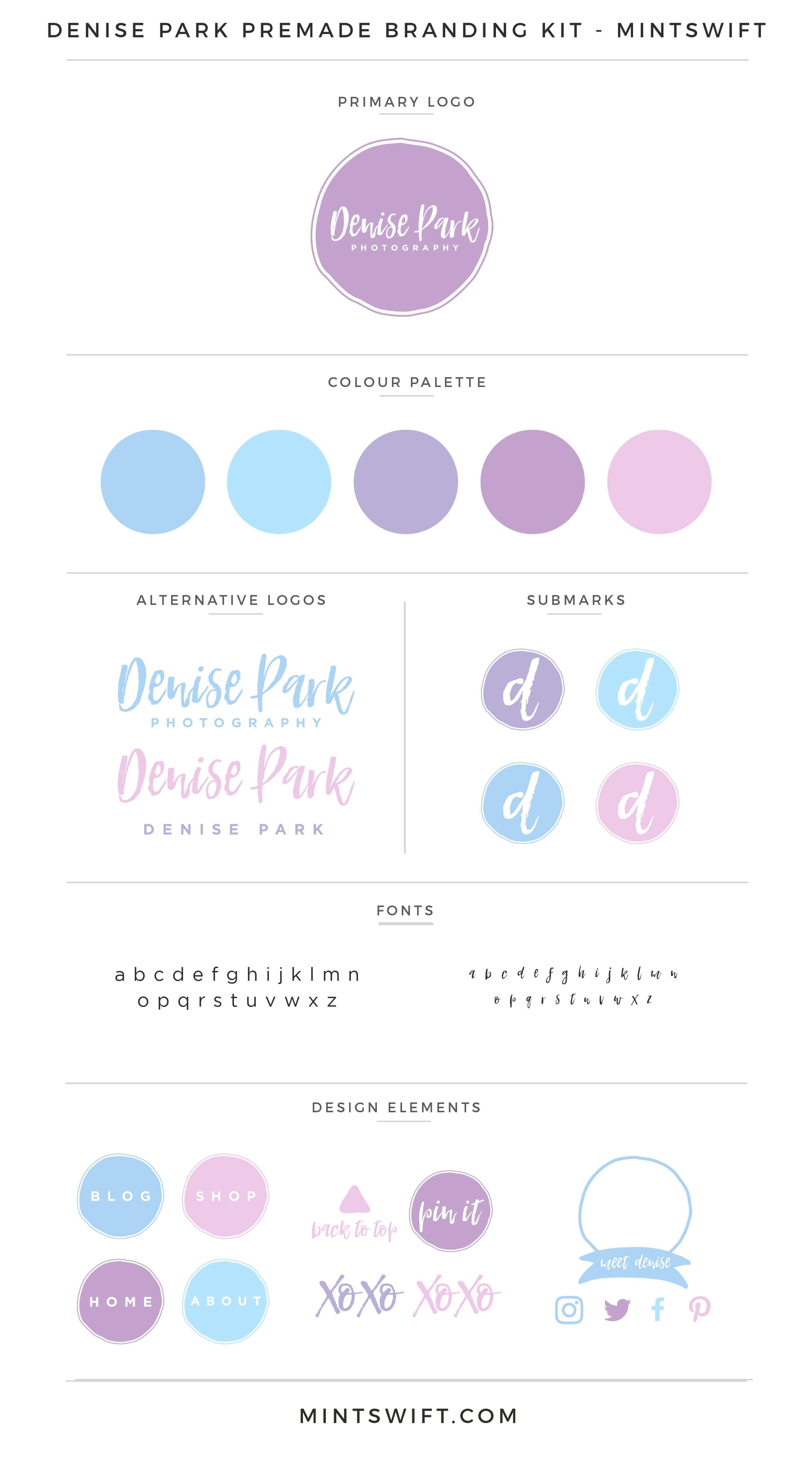 Denise Park Premade Branding Kit | Branding Kit | Premade logo | Pre-made logo | Pre-made branding kit | Premade Brand Design| Branding | Brand Design | Website Design Kit | Blog Design Kit | Blog kit | Website kit | Website elements | Blog elements | Design elements | Branding kits shop | MintSwift Shop | Premade logo design | Add-On | Logo Design | MintSwift| Adrianna Glowacka | MintSwift Design