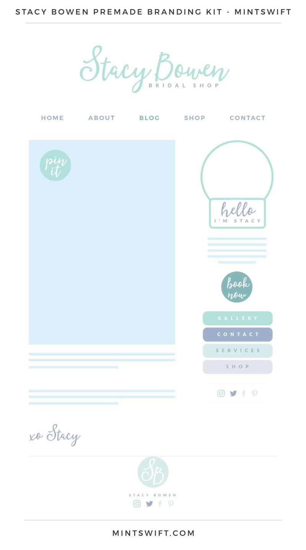 Stacy Bowen Premade Branding Kit | Branding Kit | Premade logo | Pre-made logo | Pre-made branding kit | Premade Brand Design| Branding | Brand Design | Website Design Kit | Blog Design Kit | Blog kit | Website kit | Website elements | Blog elements | Design elements | Branding kits shop | MintSwift Shop | Premade logo design | Add-On | Logo Design | MintSwift| Adrianna Glowacka | MintSwift Design