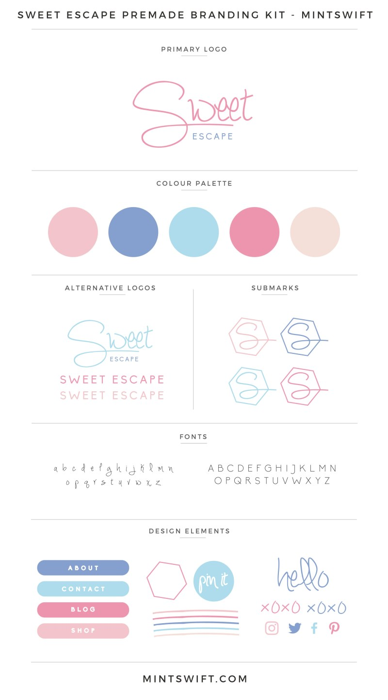 Sweet Escape Premade Branding Kit – MintSwift
