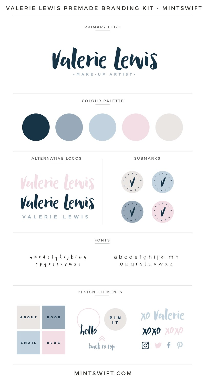 Valerie Lewis Premade Branding Kit | Branding Kit | Premade logo | Pre-made logo | Pre-made branding kit | Premade Brand Design| Branding | Brand Design | Website Design Kit | Blog Design Kit | Blog kit | Website kit | Website elements | Blog elements | Design elements | Branding kits shop | MintSwift Shop | Premade logo design | Add-On | Logo Design | MintSwift| Adrianna Glowacka | MintSwift Design